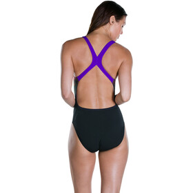 speedo SunBloom Placement Digital Powerback Swimsuit Women Black/Violet/Fluoorange/Green